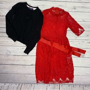 🌸Girls Red Dress and Black Sweater Size XS